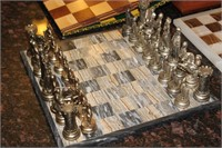 Stone Chess Board w/ Pieces