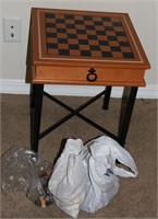 Chess Board Table w/ Chess Piece Sets