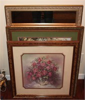Artwork lot incl. 2 paintings and mirror
