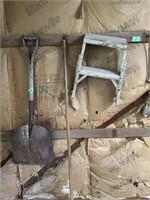 broom, scoop, step stool, saw, belt