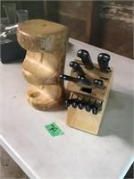 knife set, wood holder