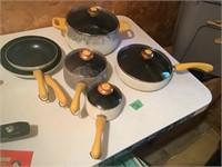pots an pans, yellow handles