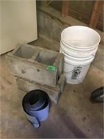 blocks, bucket, tar paper