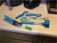 blue utensils