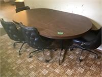 "kitchen table 71"" w/leaf, 4 roller worn chairs"