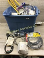 BLUE TOTE OF WATER HEATER ELECTRODES/ PLUMBING SUP