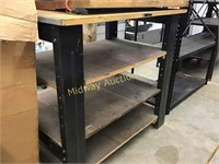 WOOD TOP WORK BENCH ON METAL  LEGS WITH SHELVES UN