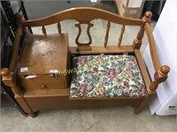 WOOD TELEPHONE BENCH WITH STORAGE
