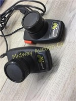 BOX OF AUDIO VIDEO CABLES/ ATARI CONTROLLERS/ REMO