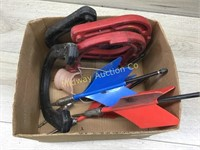 BOX WITH HORSESHOES/ LAWN DARTS