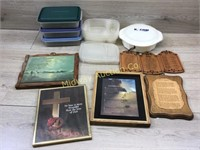BOX OF FOOD STORAGE CONTAINERS/ PICTURES