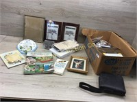 BOX WITH NEW PICTURE FRAMES/ METAL BOX/ MISC DÉCOR