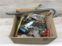BOX LOT OF MISC HARDWARE/ PRY BAR/ C CLAMPS MISC H