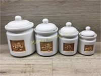 SET OF WHITE CANISTERS/ LAMP SHADE