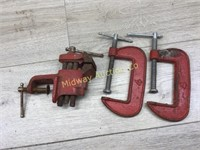 2 C CLAMPS AND MINI CLAMP ON VISE