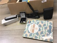 BOX W/ CORK BOARD/ STAPLERS/ OFFICE SUPPLIES