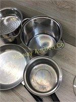 STACK OF STAINLESS STEEL POTS AND PAN