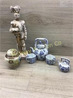 BOX OF GINGER JAR/ TEA SET/ ARMOUR MAN STATUE
