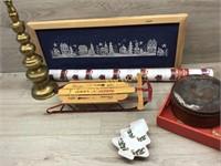 BOX OF CHRISTMAS DÉCOR/ MINI SLED/ WRAP PAPER/ NEE