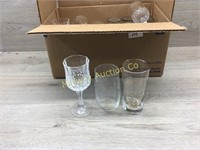 BOX OF STEMWARE/ 25TH ANNIVERSARY GLASSES AND MISC