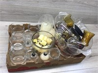 VARIOUS GLASSWARE/ CANDLE SCONCE CUPS