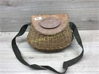 WICKER FISHING BASKET WITH WOOD LID AND STRAP