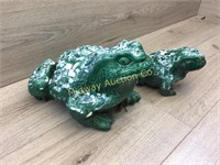 2 CERAMIC GARDEN FROGS