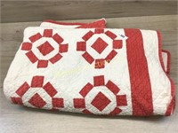 HAND STITCHED RED AND WHITE QUILT