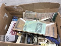 BOX LOT OF VARIOUS CERAMIC TOOLS AND PAINTS/ FLORA
