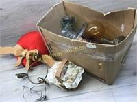 BOX LOT WOOD DÉCOR WALL BOW/ BALL JAR/ CAKE PLATE/