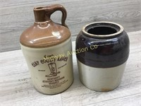 CROCK WITH NO LID/ CAMP COOLEY RABD KENTUCKY BOURB