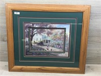FRAMED 24 X 20 TRIPLE MAT AMISH PRINT OF BUGGY AND