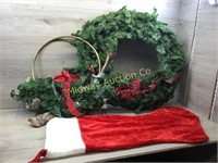 BRASS HORN WREATH AND LARGE GREENERY WREATH