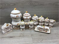 BROWN ONION CANISTER SET/ BUTTER DISH/ SALT AND PE