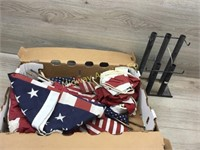 BOX LOT OF AMERICAN FLAGS/ FLAG BANNERS