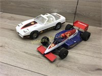 GOODYEAR RACE CAR AND SHELL PLASTIC CORVETTE CAR
