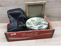WOOD COKE BOX/ POLAROID CAMERA/ TIN/ PICTURE FRAME