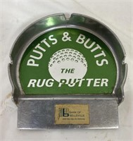 Putts and Butts metal ashtray, Bank of belleville