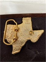 2 State of Texas 24k gold plate belt buckles