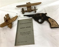 Vintage wooden toys, planes, toy gun, Safety