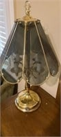 Beautiful brass lamp with glass shade