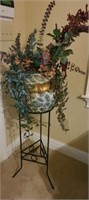 Beautiful ceramic and metal plant holder and stand