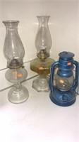 Estate lot of 3 Vintage Oil lamps
