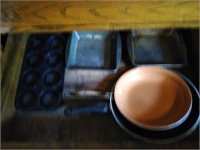 Lot of baking pans and pair of frying pans