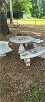 Beautiful solid concrete table and 3 benches