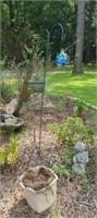 Estate lot of 2 hanging pots, shepards hook, ect