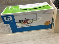 HP PRINTER/ BOX OF STEREO CABLES/