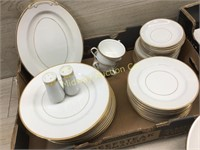 SET OF SONE CHINA WHITE WITH GOLD TRIM APPROX 70 P
