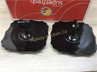 BLACK GLASS SERVE BOWL/ 2 HANDLE TRAYS/ PITCHER WI