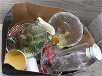 BOX LOT VARIOUS GLASSWARE/ VASE/PITCHERS/ GERMAN C